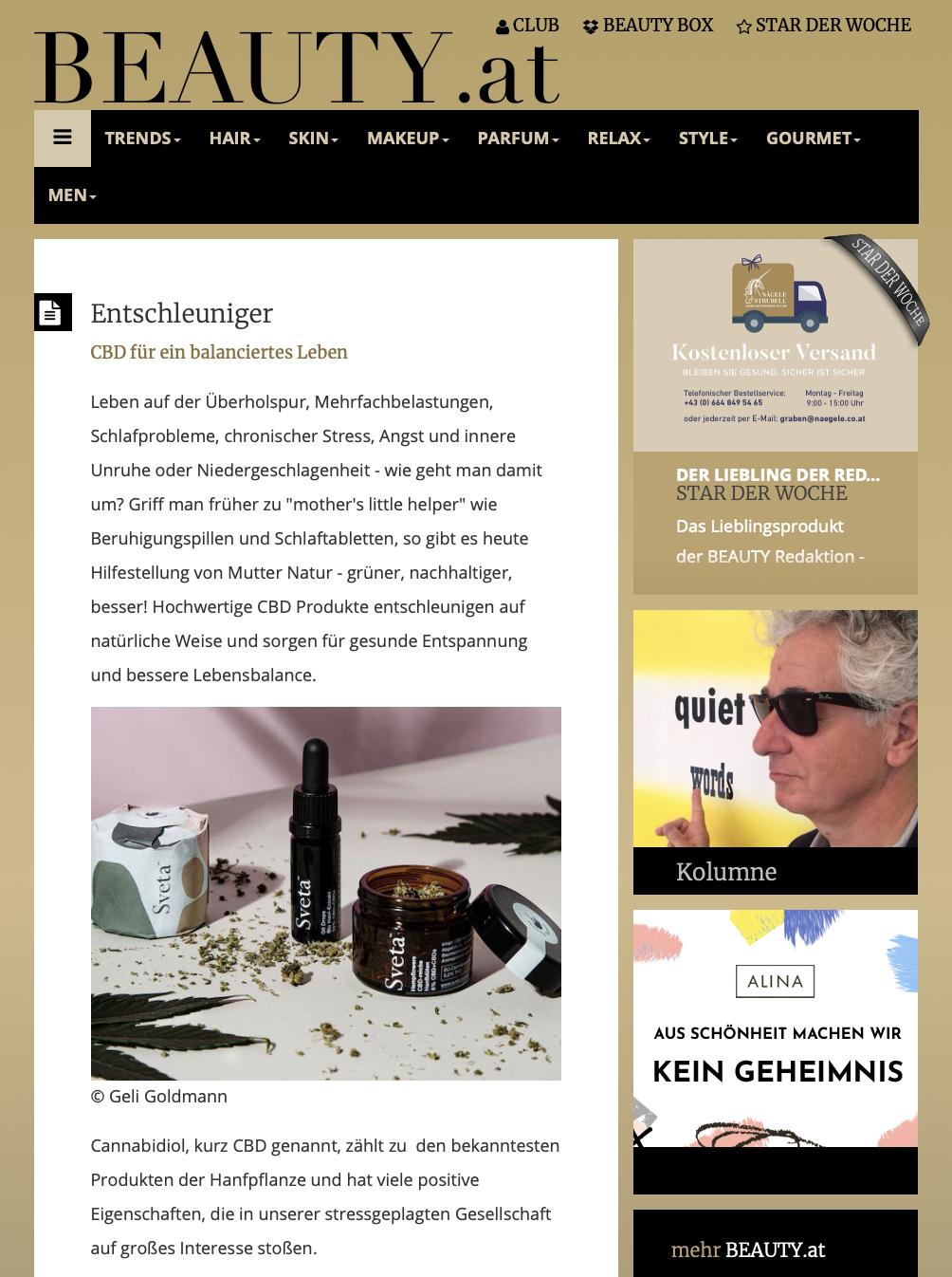 Online-Artikel von Beauty.at über die hochwertigen CBD-Produkte aus Österreich