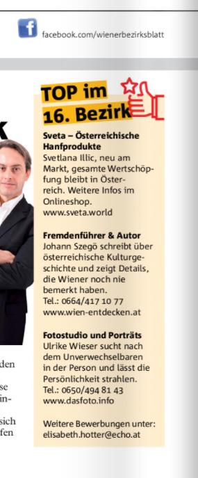 Sveta im Wiener Bezirksblatt